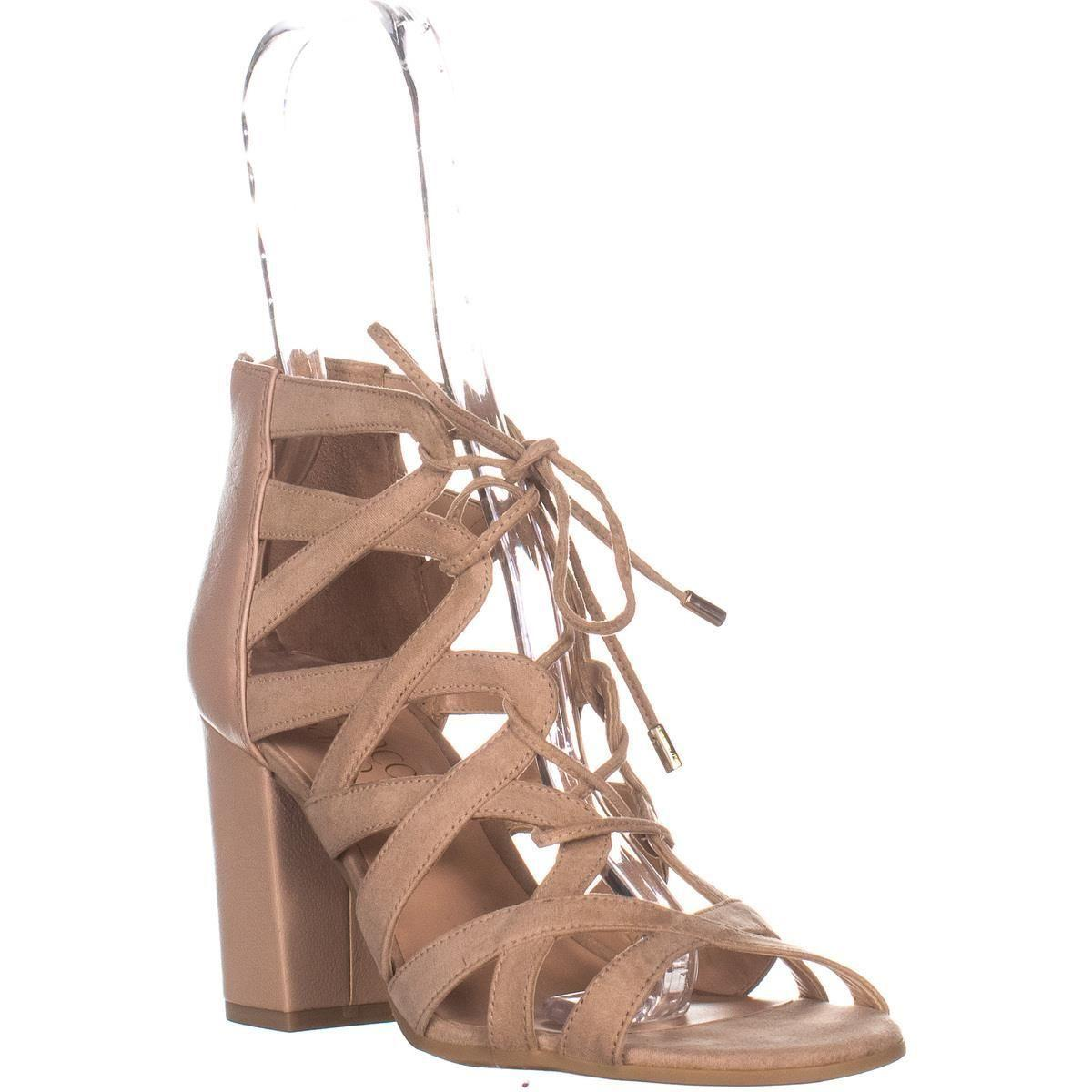 204f2b8d5294 Lyst - Franco Sarto Meena Heeled Lace-up Sandals in Natural - Save 71%