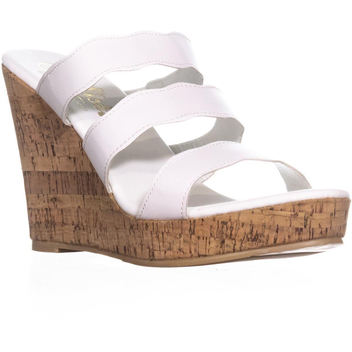 276075e48c99 Lyst - Callisto Flure Triple Strap Wedge Sandals in White - Save 60%