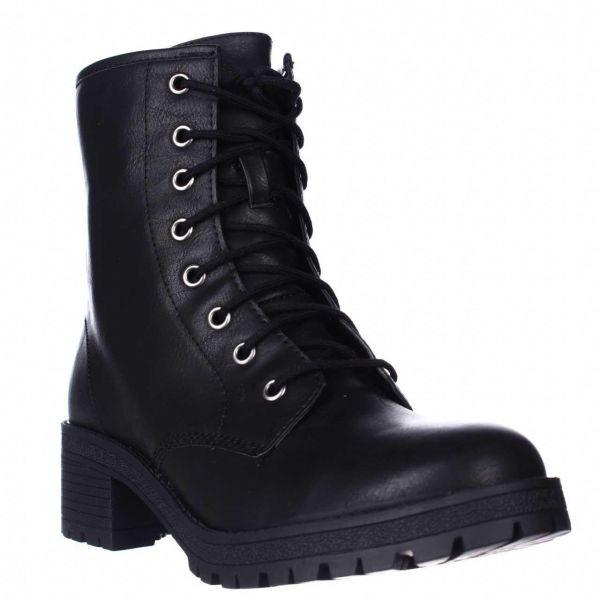 468b0bca24db4 Lyst - Madden Girl Eloisee Lace-up Combat Boots in Black