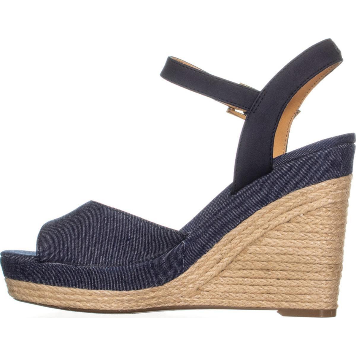 322c6465 Lyst - Tommy Hilfiger Kali Peep Toe Wedge Sandals in Blue
