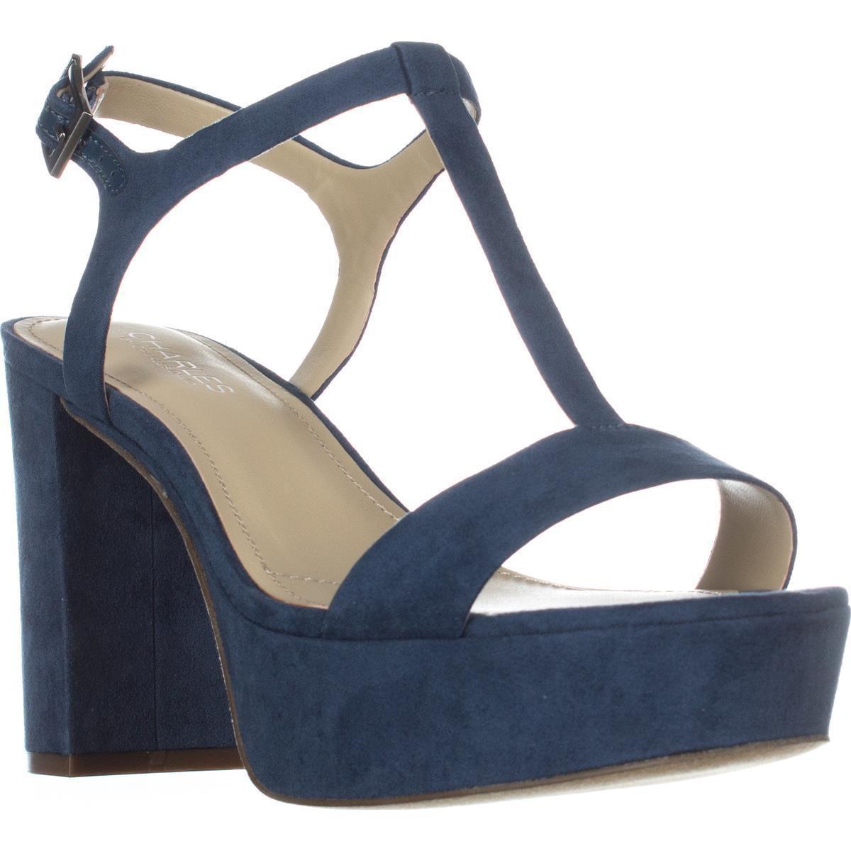 dc4351734cbe Lyst - Charles David Miller T-strap Platform Sandals in Blue