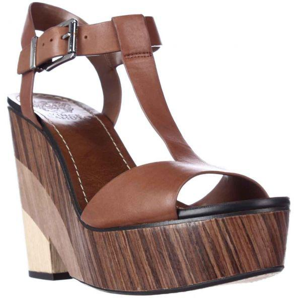 1cd752807bf Lyst - Vince Camuto Oriana Wedge Platform T-strap Sandals in Brown