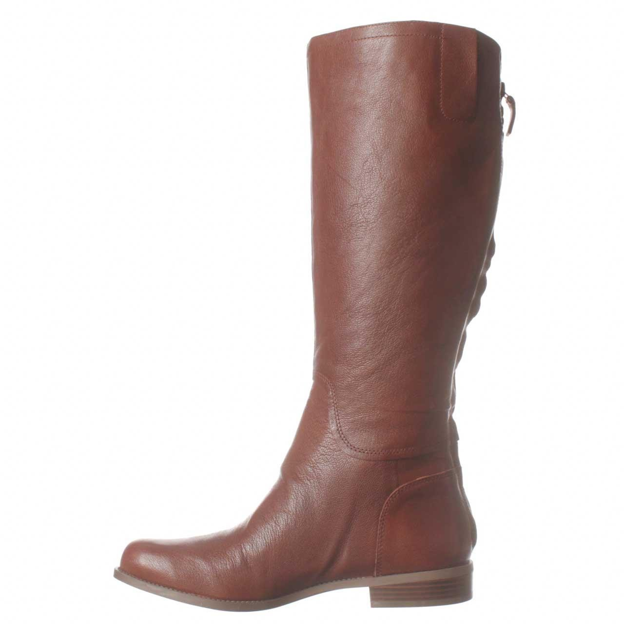 nine west contigua wide calf flat boots in brown lyst