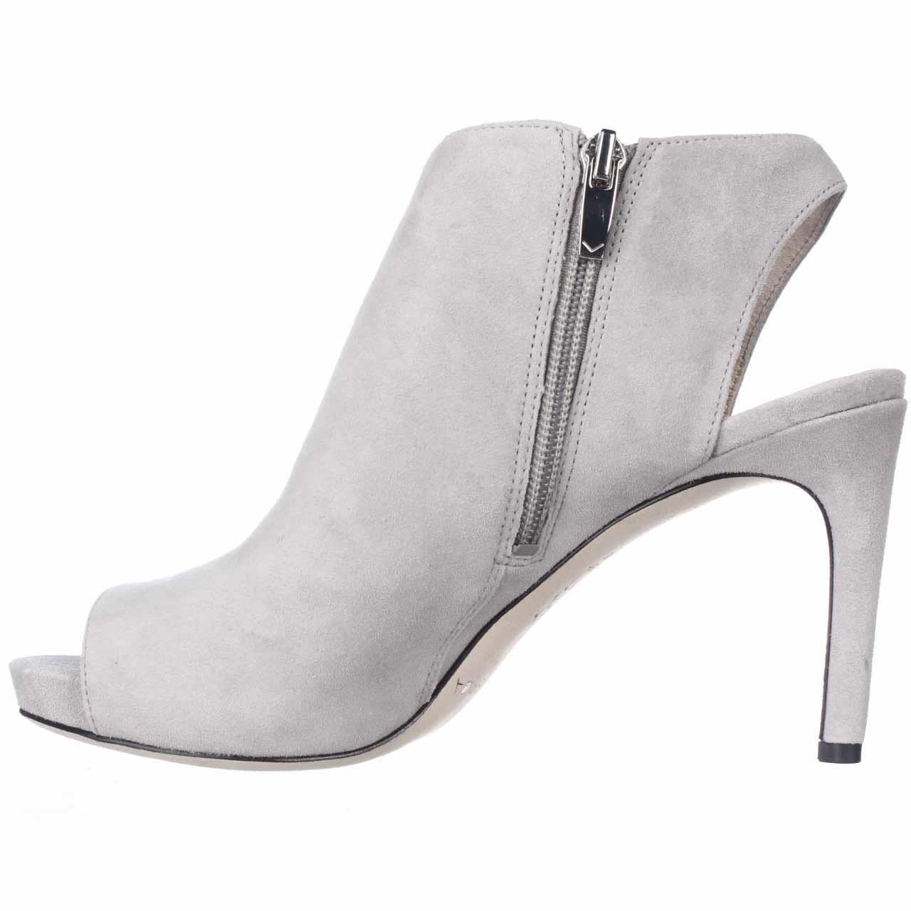 Via Spiga Nariah Peep Toe Heel Booties In Gray Lyst
