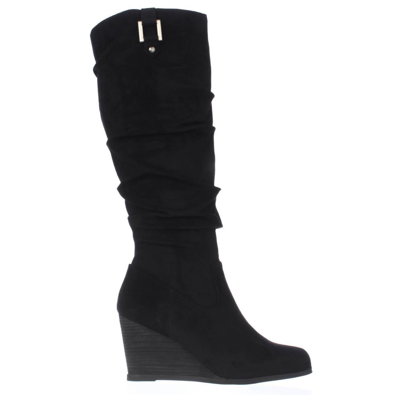 913ba0937ea7 Lyst - Dr. Scholls Poe Wedge Slouch Boots in Black