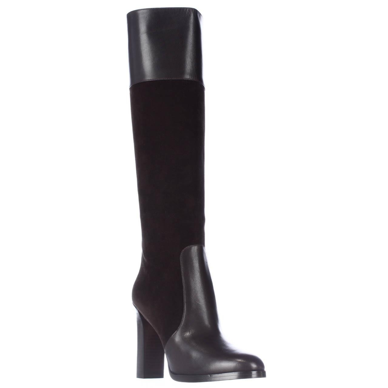 michael kors daryl leather and suede knee high boots in