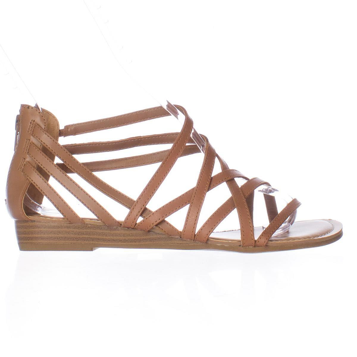 Lyst Carlos By Carlos Santana Amara Low Wedge Gladiator Sandals In Brown