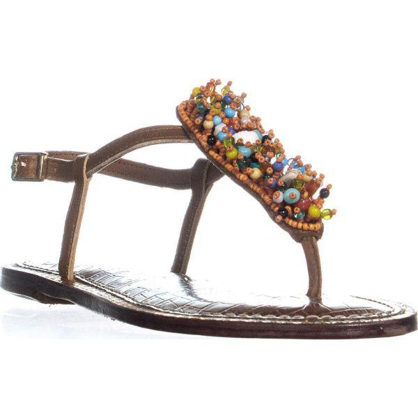 15eefd2bf Sam Edelman Gabrielle Seashell Flat Sandals in Orange - Lyst