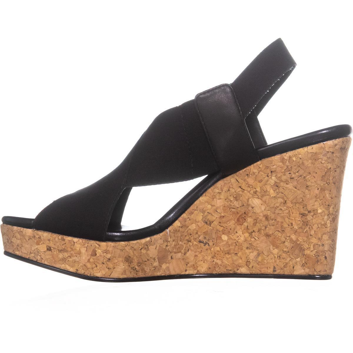 61df422e5eb Lyst - DKNY Jamara Criss Cross Wedge Sandals in Black