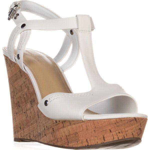 b6563b3bcdf4 Marc Fisher Helma Platform Wedge Sandals in White - Save 4.0% - Lyst