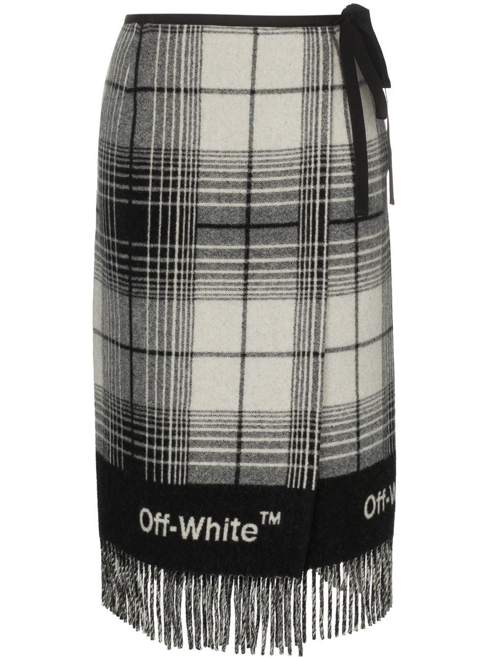 bc92554167e0 Off-White c o Virgil Abloh Check Blanket Skirt in Black - Lyst