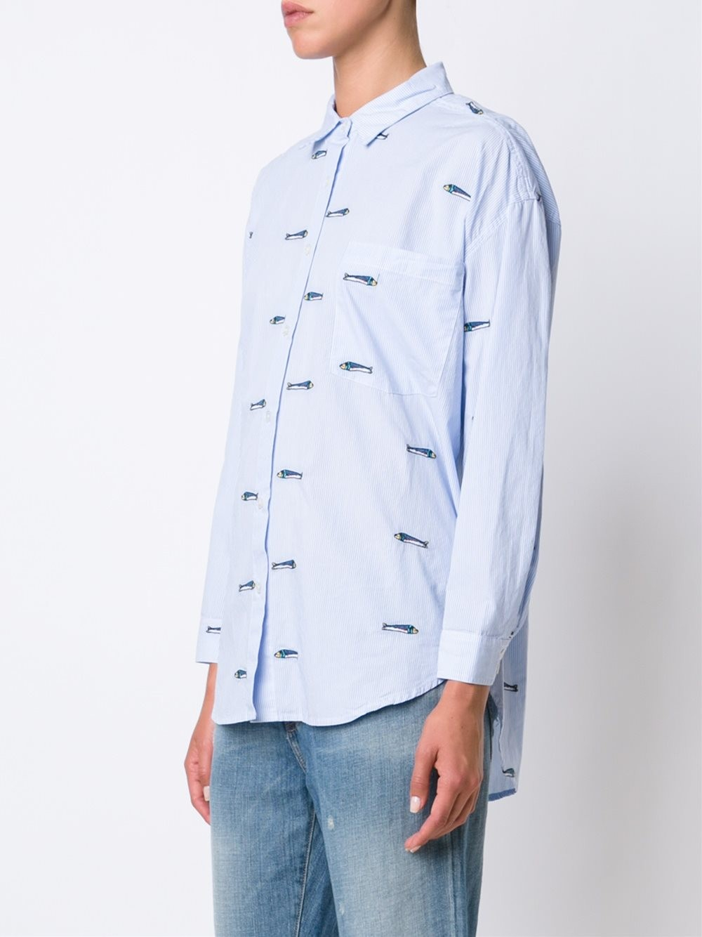 Lyst sea embroidered fish shirt in brown for Embroidered fishing shirts