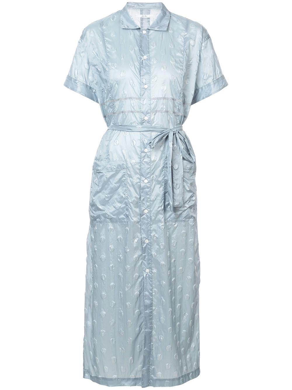 f0213f2df1f082 Lyst - Julien David Crinkled Polka Dot Shirt Dress in Blue - Save 43%
