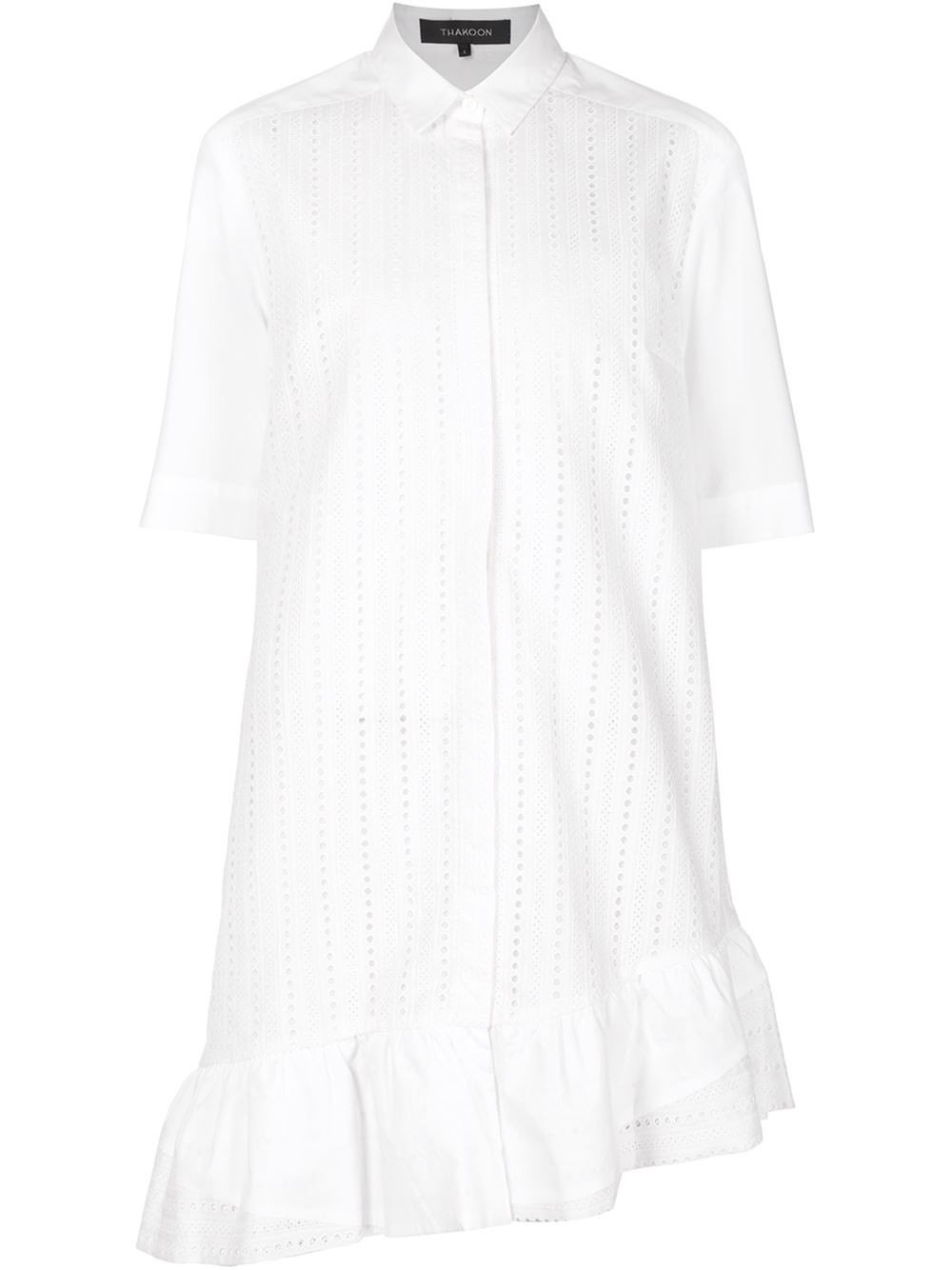 Thakoon Broderie Anglaise Ruffled Shirt Dress in White | Lyst