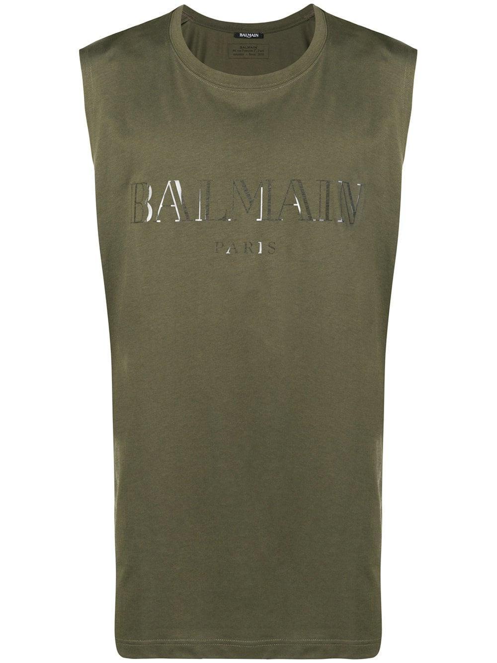 389aec7a57b3c3 Balmain - Green Logo Tank Top for Men - Lyst. View fullscreen