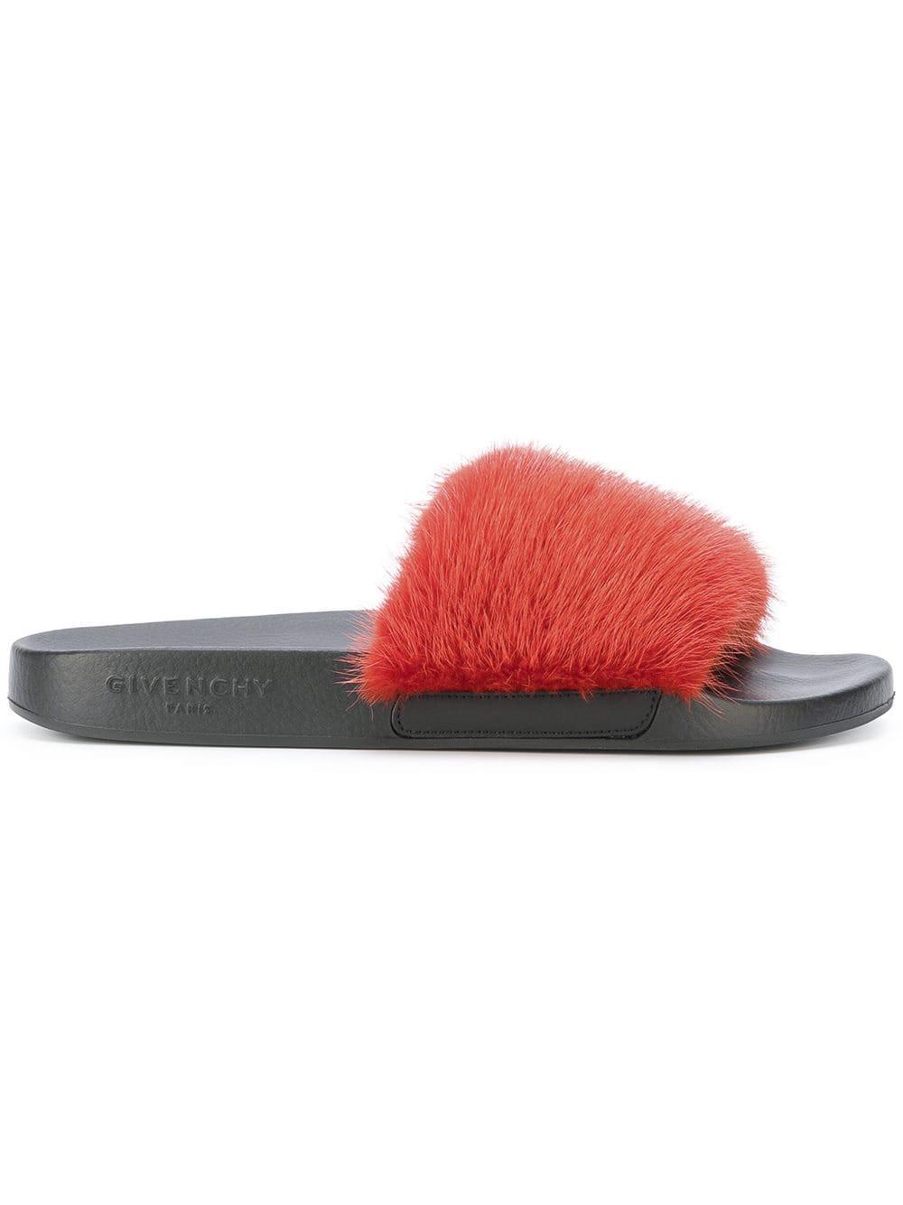 b1c2e6edd49 Givenchy - Red Fur Strap Slides - Lyst. View fullscreen