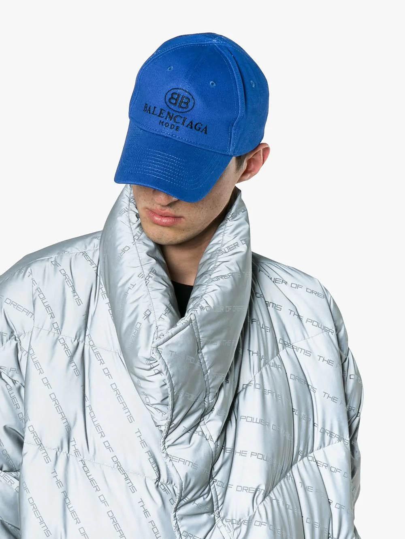 03e7f7fe6e Balenciaga Blue Logo Embroidered Cap in Blue for Men - Save 19% - Lyst