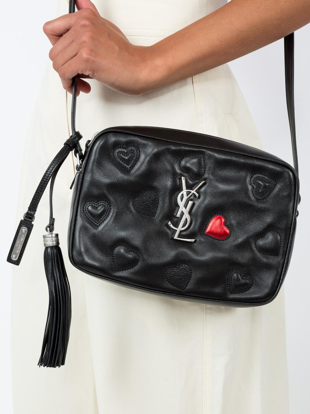 b8012f47c29 Saint Laurent Black Monogram Lou Hearts Cross Body Bag in Black - Lyst