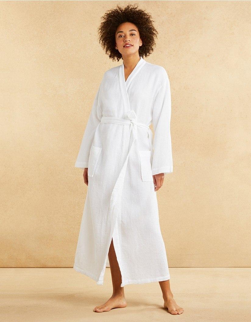 8ea9376ec6145 The White Company Cotton Micro Waffle Robe in White - Lyst