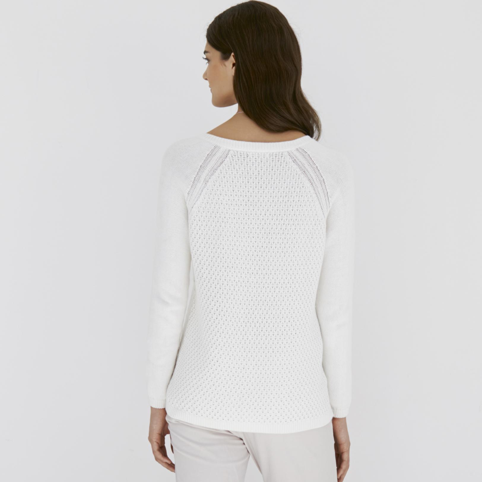 The white company Textured Boyfriend Sweater in White | Lyst
