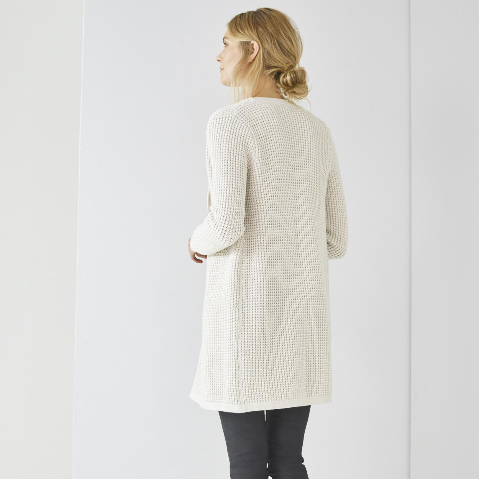 The white company Thermal Stitch Waterfall Cardigan in Natural | Lyst