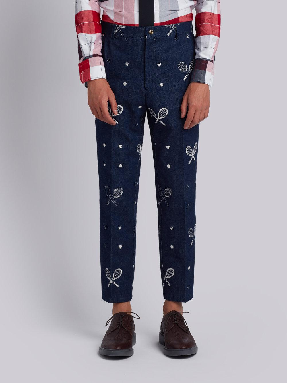 Unconstructed Chino In Washed Denim With Distressed Tennis Half Drop Embroidery - Blue Thom Browne m5h8pO1ql