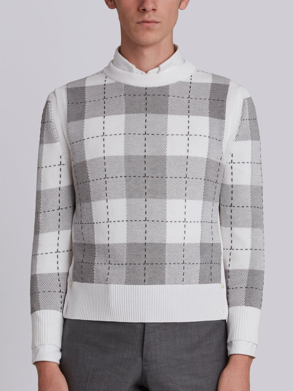 Clearance 2018 Classic Crewneck Pullover With Large Plaid Intarsia In Cotton Crepe - Red Thom Browne Online Shop HmXat