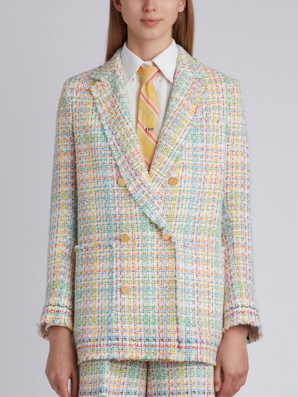 12410843a4c Thom Browne Double Breasted Sack Jacket With Fray & Selvedge In ...