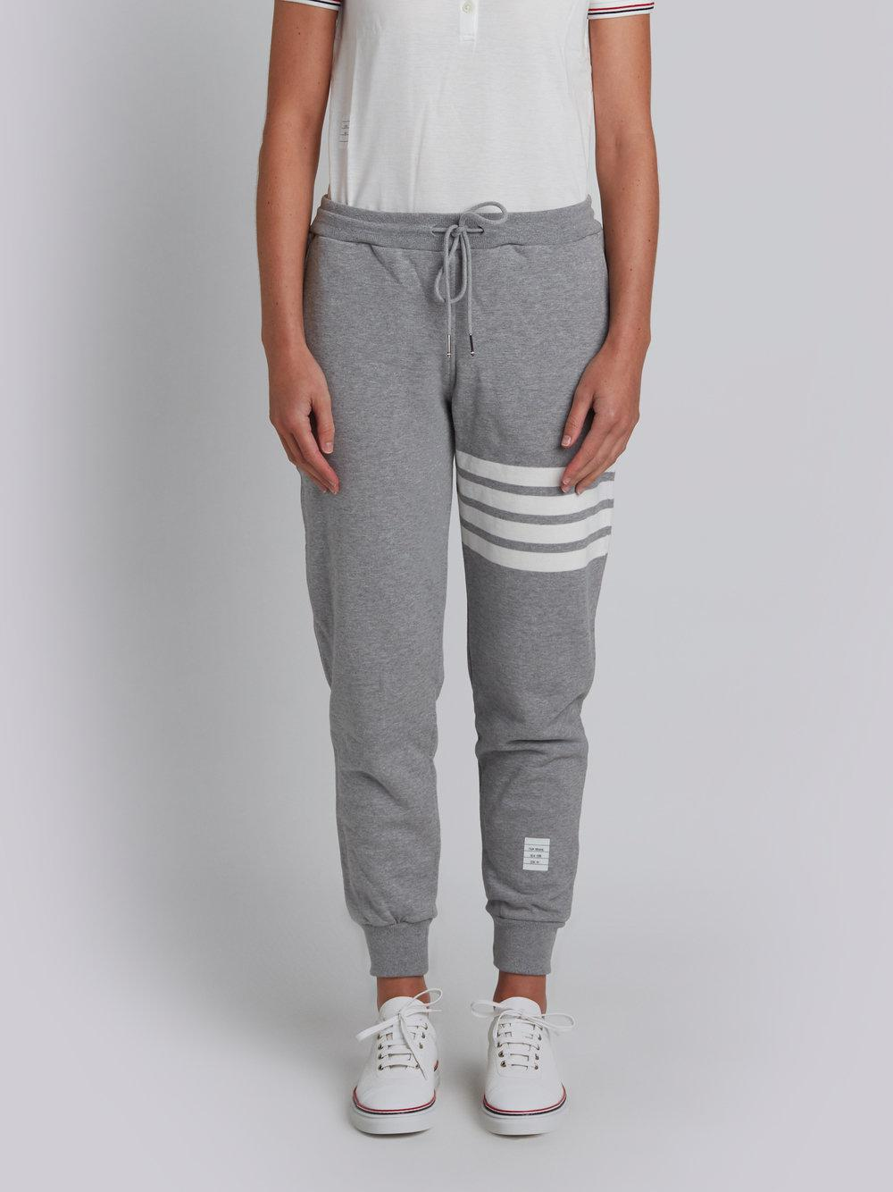 324af8875eb2 Thom Browne. Men s Gray Classic Sweatpants In Classic Loop Back With  Engineered 4-bar
