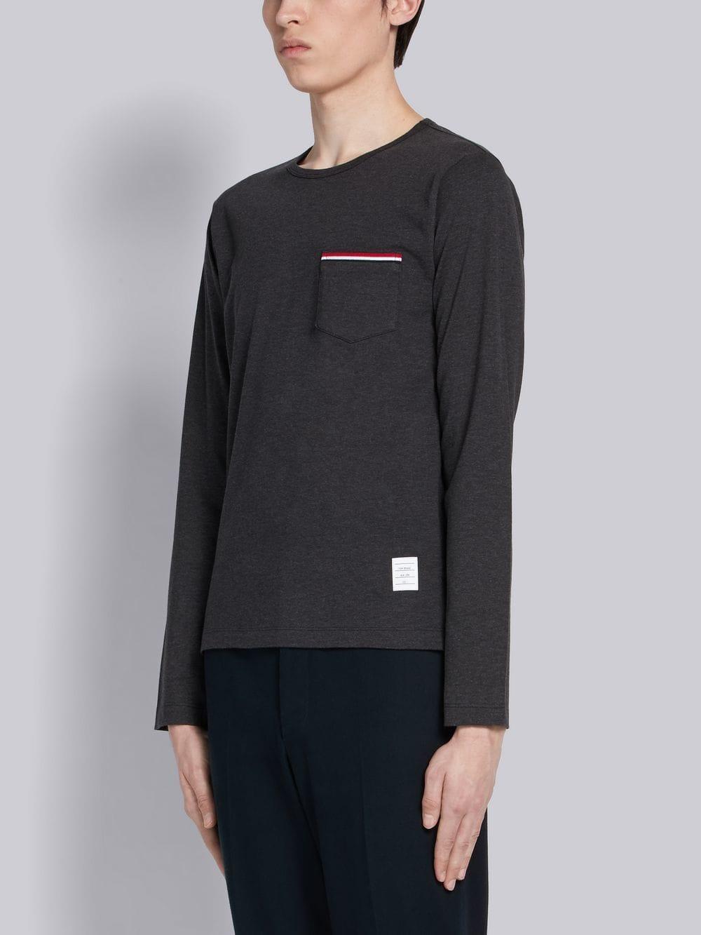 085e7081dad Thom Browne Rwb Pocket Trim Long-sleeve Tee in Gray for Men - Lyst