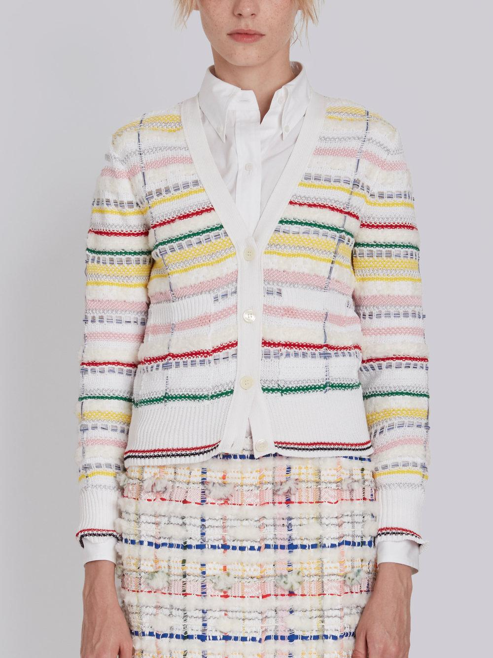 V-neck Cardigan With Tipping Stripe In Cotton Lurex Knit Tweed - Multicolour Thom Browne Discount Extremely Cheap Sale The Cheapest Buy Cheap 2018 New Clearance Store Sale Official Site P5sxdGeNBc