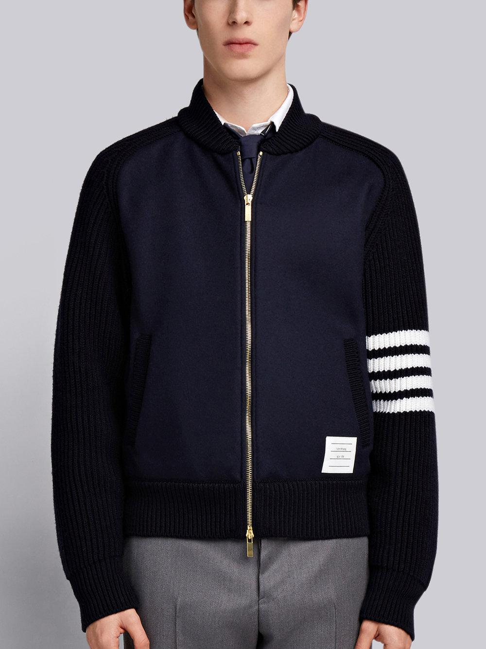 Cheap Sale Manchester Great Sale Chunky Saddle Sleeve Cashmere Wool Bomber - Blue Thom Browne Cheap Usa Stockist r4QG07q