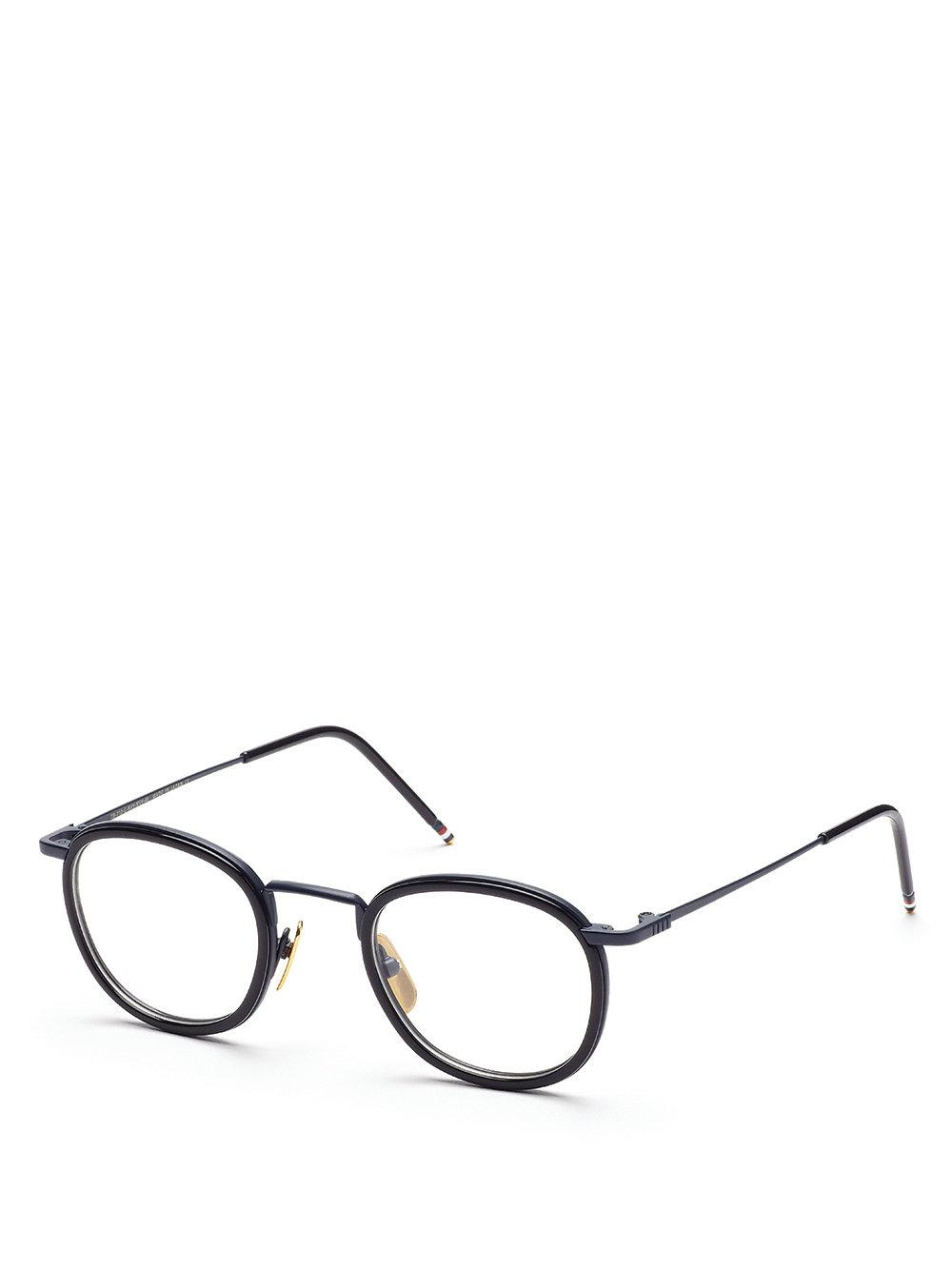 0b6cf873086 Thom Browne Navy   18k Gold Glasses With Clip-on Sun Lens in Blue - Lyst