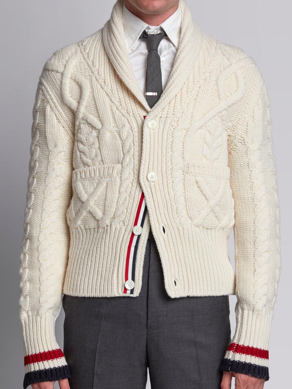 6f796248062b Lyst - Thom Browne Shawl Collar Cardigan With Aran Cable In Fine ...