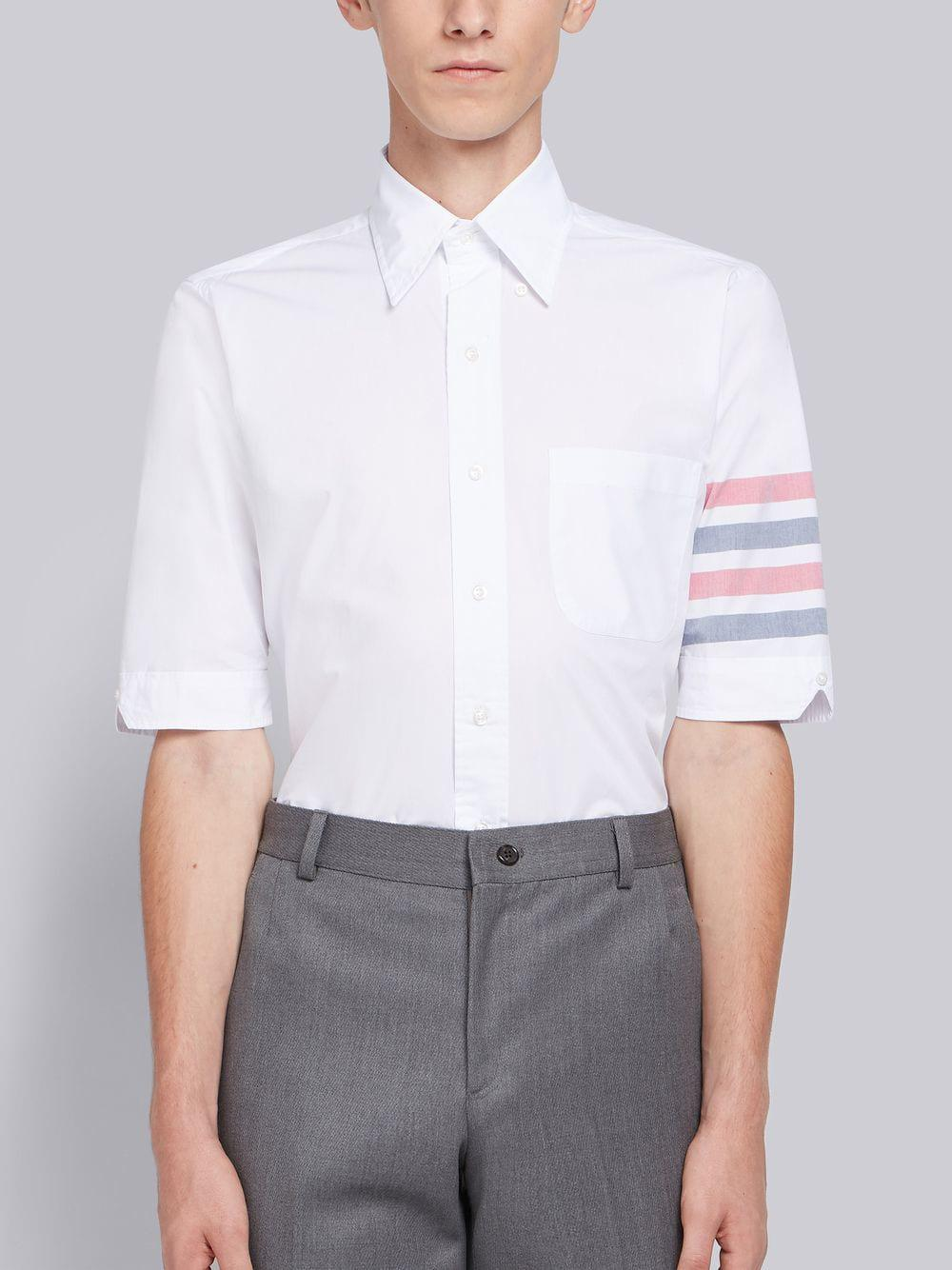 8022b4bee19 Thom Browne Woven 4-bar Armband Poplin Shirt in White for Men - Lyst