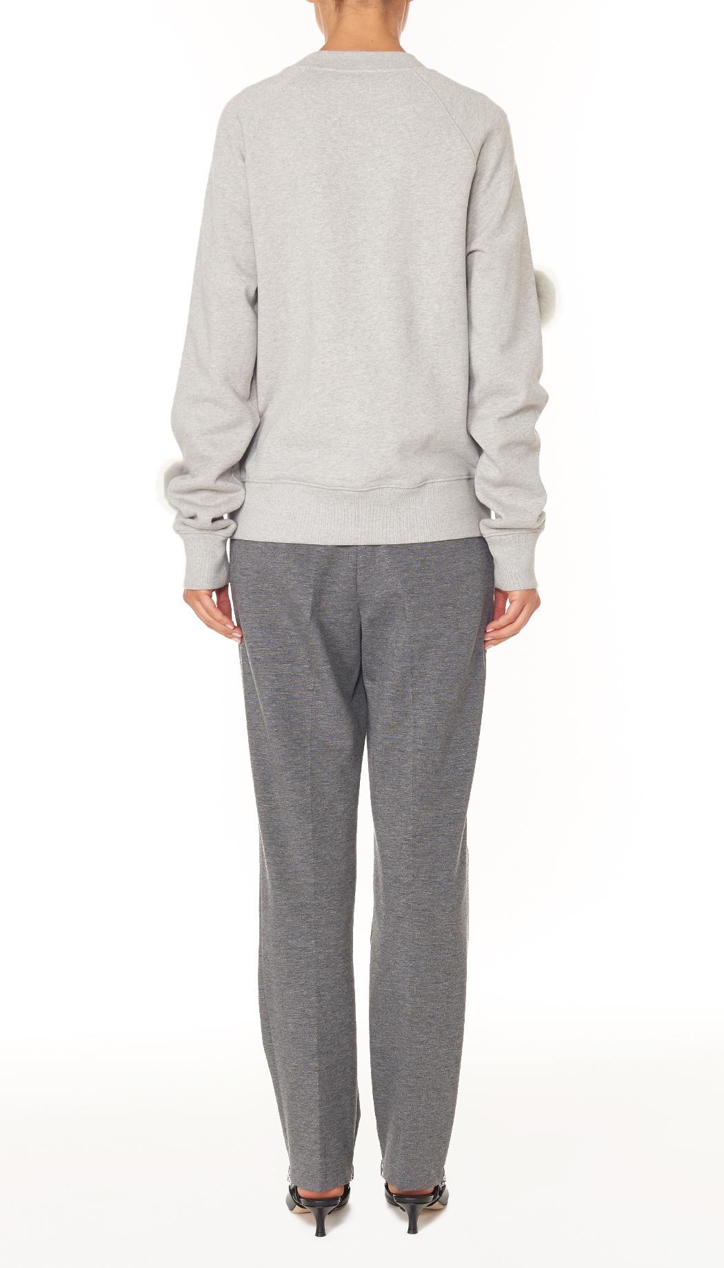 Tibi Cropped Pom Pom Sweatshirt In Gray Lyst