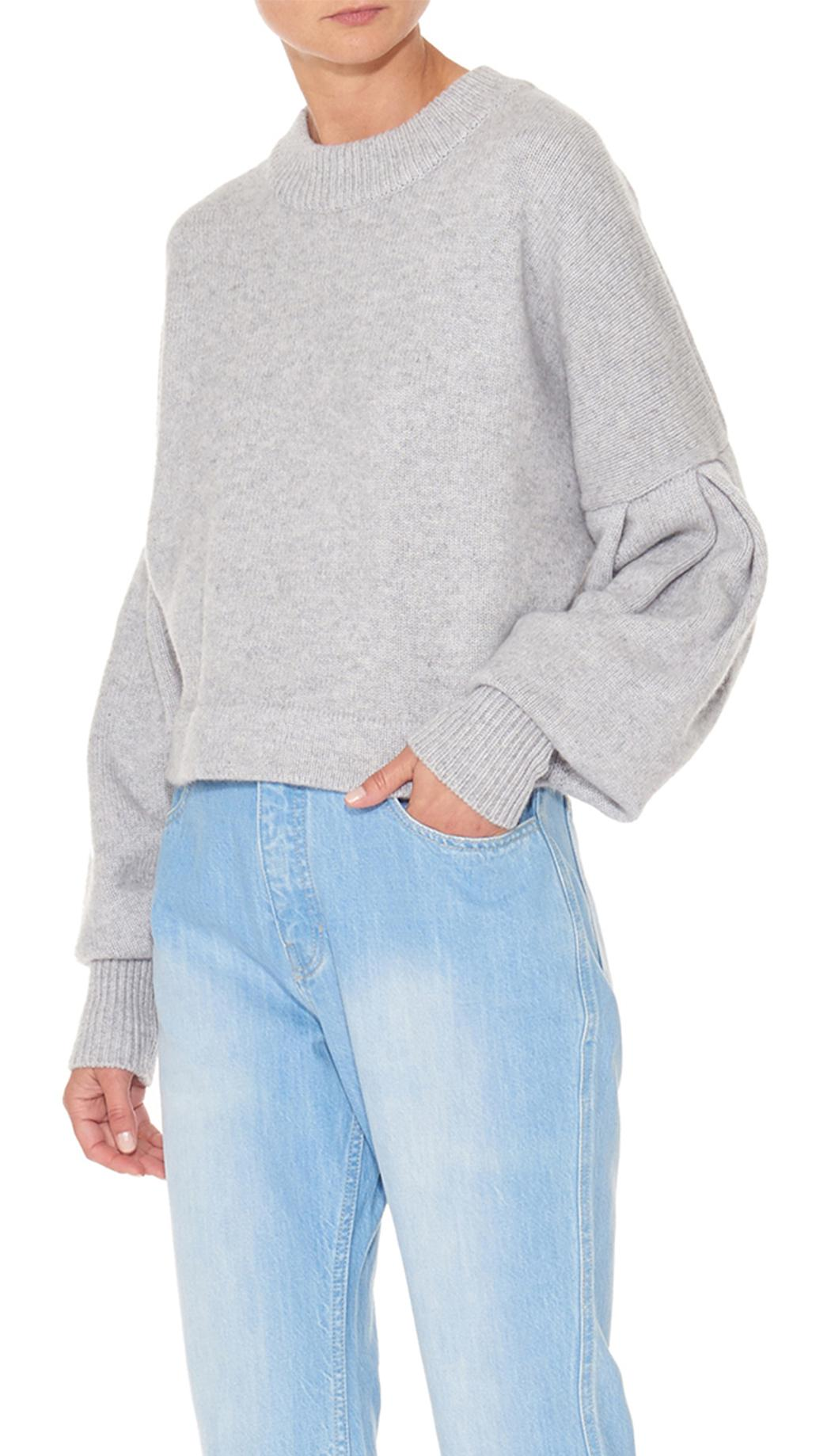 3dd7bbc7bb1 Lyst - Tibi Cashmere Pleated Sleeve Cropped Pullover in Gray