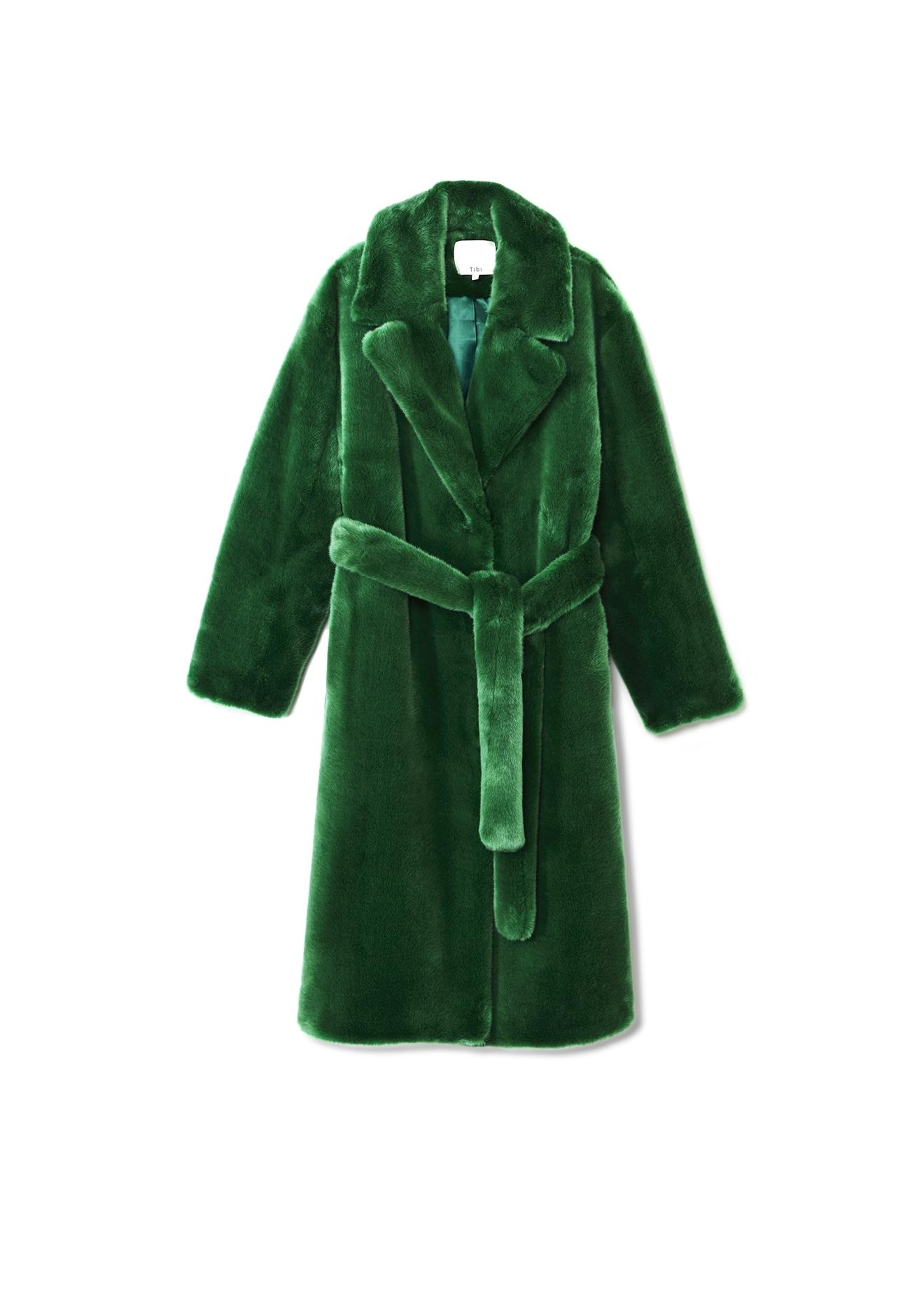 f355aab86771 Tibi Luxe Oversized Faux Fur Coat in Green - Save 16% - Lyst