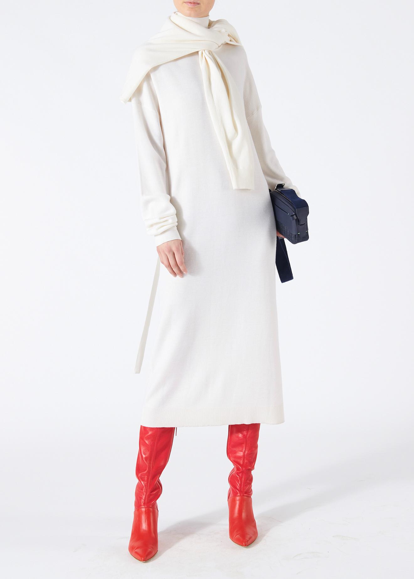 4389f9fe998a Tibi Merino Wool Tie Back Long Dress in White - Lyst