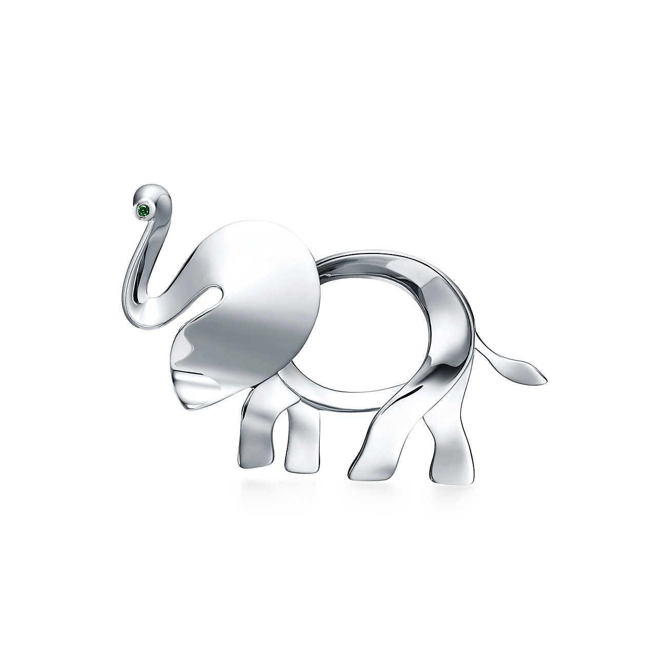 647829e0a Tiffany & Co. Tiffany Save The Wild Elephant Brooch In Silver With A ...