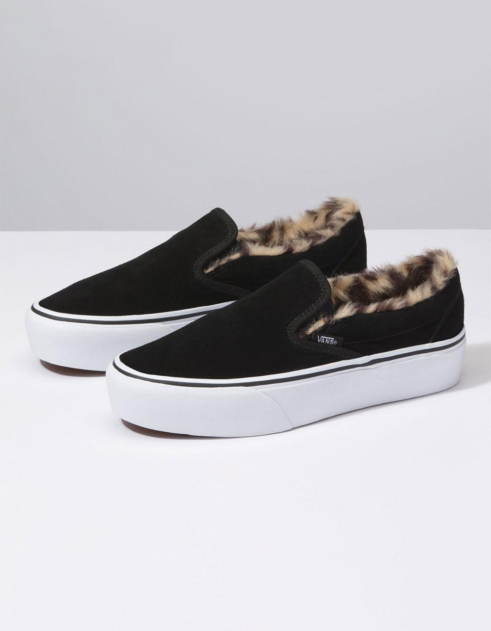 Lyst - Vans Suede Slip-on Platform Fur Black Womens Shoes in Black be8013787e