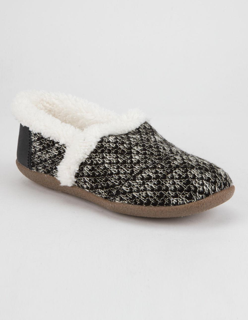 4b808369ba6 TOMS Black Sparkle Knit Womens Slippers in Black - Lyst