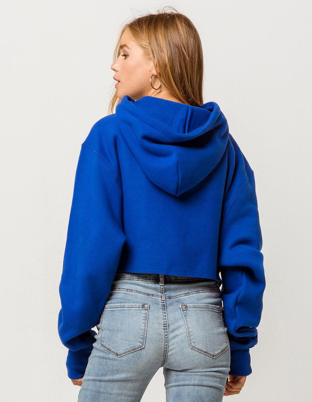 5a82efa6 Champion Reverse Weave Royal Womens Crop Hoodie in Blue - Lyst