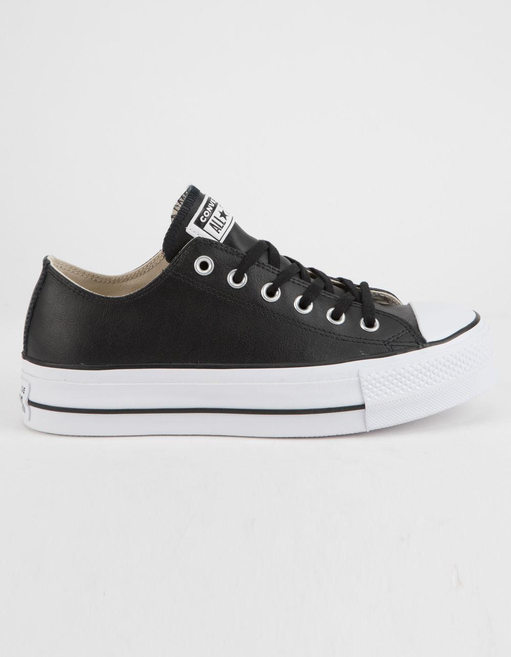 f8eb5c11465f Converse. Black Chuck Taylor All Star Lift Faux Leather Womens Low Top Shoes