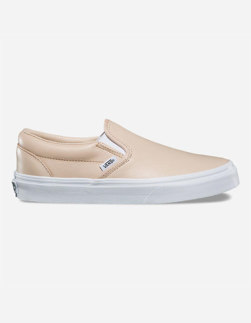 72454848a30542 Lyst - Vans Leather Frappe   True White Classic Slip-on Womens Shoes ...