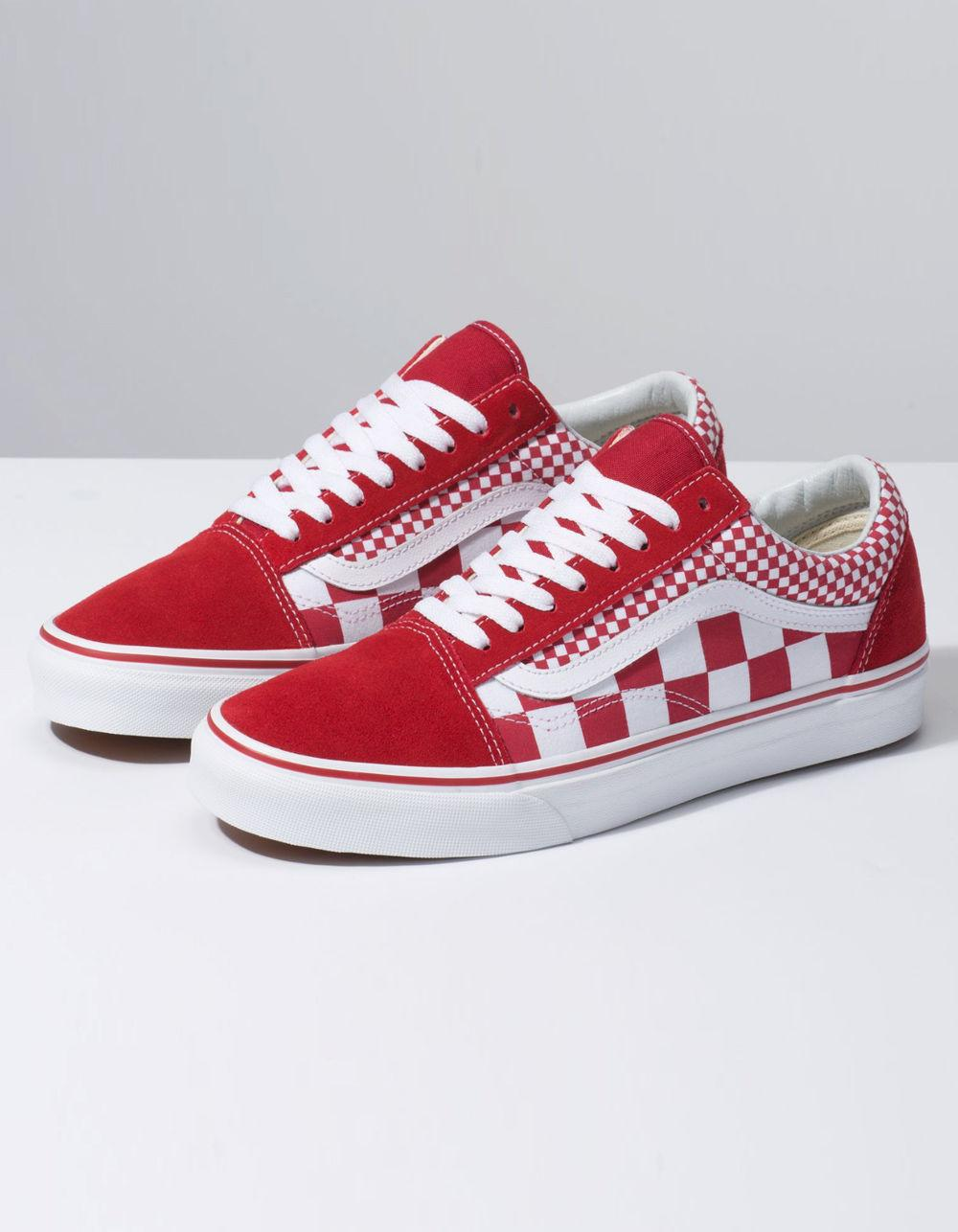 b76b3877714 Lyst - Vans Mix Checker Old Skool Chili Pepper   True White Shoes in Red -  Save 23%
