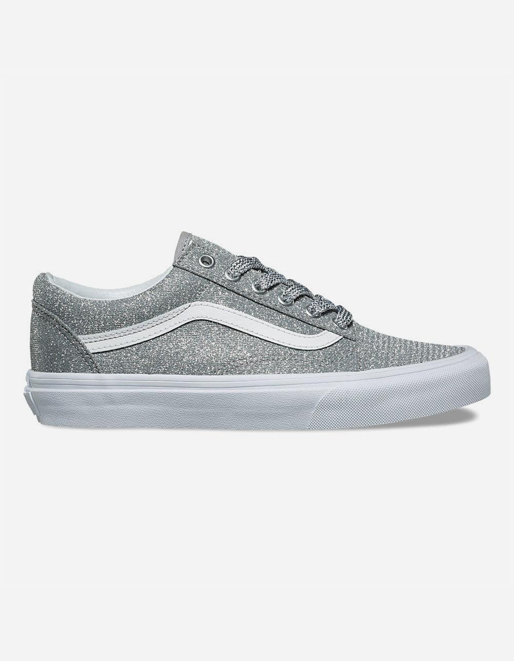 4fd43ca2bd Lyst - Vans Old Skool Lurex Silver   True White Womens Shoes in Metallic