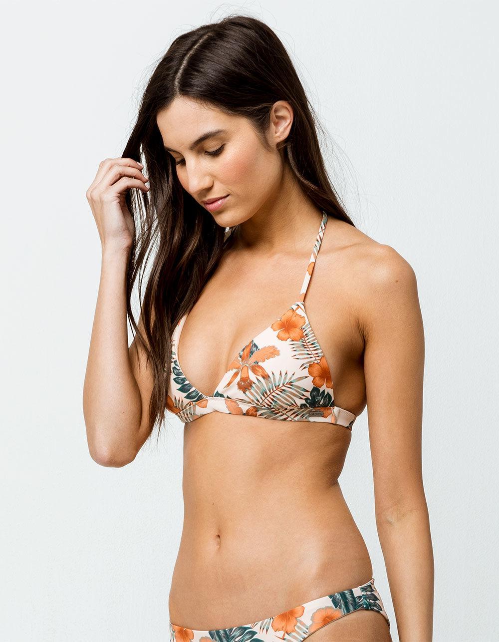 a4b1a9ee420 Roxy. Women's Printed Strappy Love Reversible Triangle Bikini Top