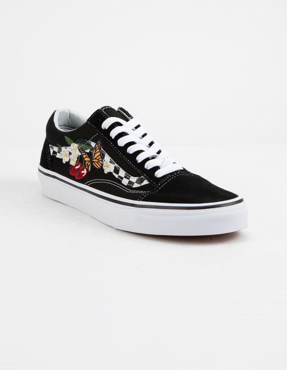 9c4486438093 Lyst - Vans Checker Floral Old Skool Womens Shoes in Black