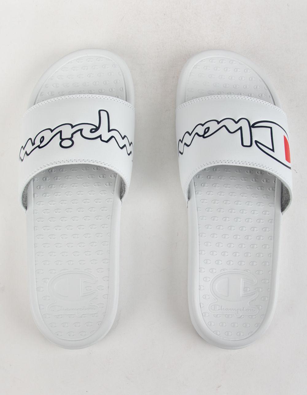 91db96879 Lyst - Champion Super Slide Split Script White Mens Sandals in White for Men